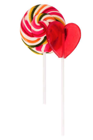 Two sweet lollipops isolated on white background photo