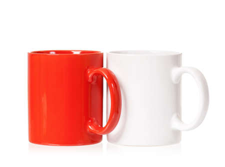 mugged: Two colorful cups, isolated on white background