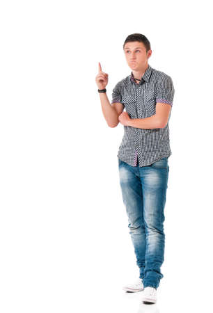 Successful young businessman in shirt showing something, isolated on white background photo