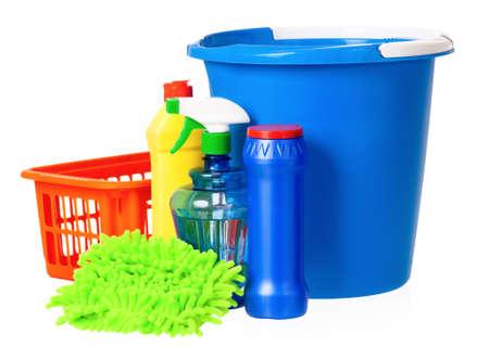 Plastic blue bucket and orange basket photo