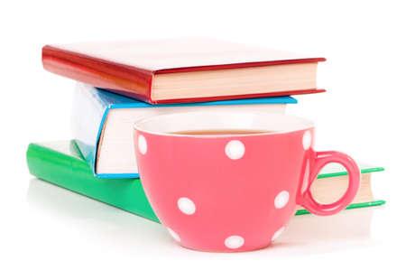 mugged: Big mug polka dot of tea and books