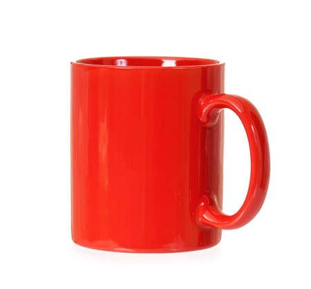 mugged: Red mug for coffee or tea Stock Photo