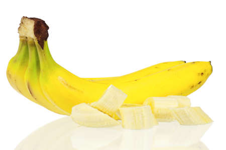Over ripe bananas isolated on white photo