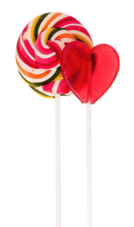 Two sweet lollipops isolated on white  photo
