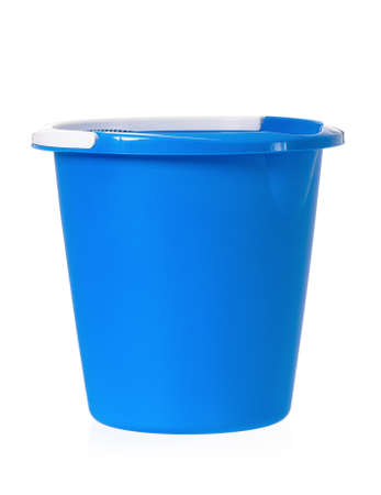 Plastic blue bucket isolated on white background photo