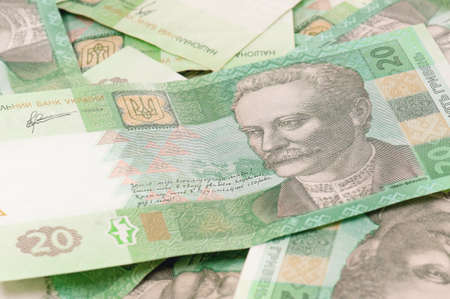 hryvna: Many banknotes of ukrainian hryvna for background Stock Photo