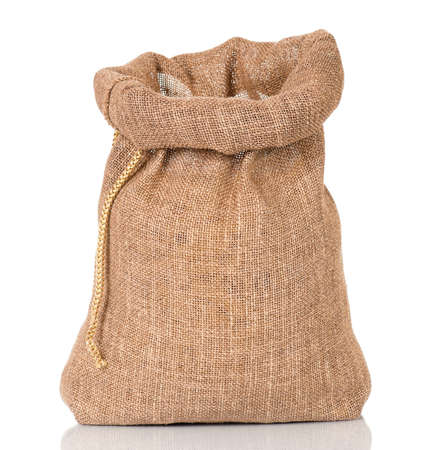 Open small sack, isolated on white background photo