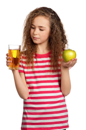 Portrait of happy girl with apple juice isolated on white background photo