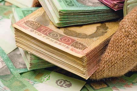 hryvna: Close-up of money bag with ukrainian hryvna Stock Photo