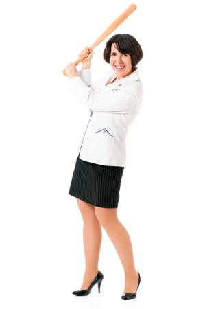 Anger business woman in suit with wooden baseball bat, isolated on white background photo