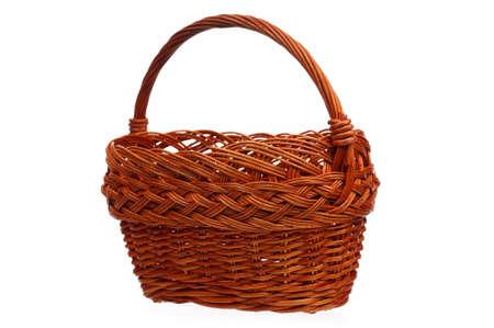 interleaved: Empty wicker basket isolated on white background