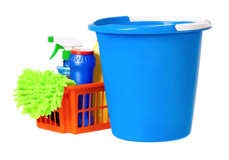 Plastic blue bucket and orange basket, isolated on white background photo