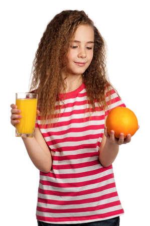 Portrait of happy girl with orange juice isolated on white background photo