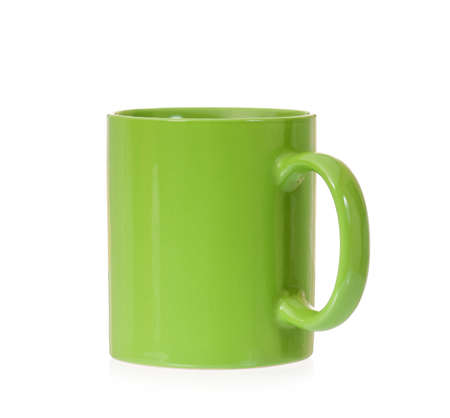 mugged: Clean green cup, isolated on white background