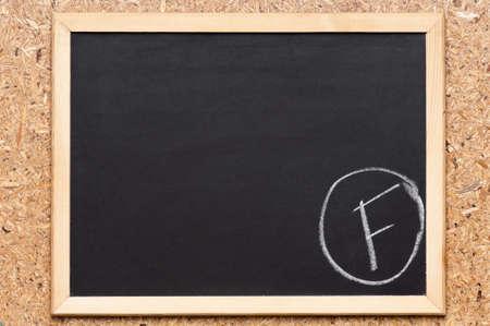 Letter F written on chalkboard, getting bad grades