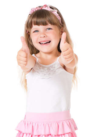 contentedness: Portrait of cute little girl showing thumbs up, isolated on white background Stock Photo