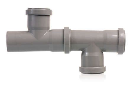 plastic conduit: Plastic sewer pipe, isolated on a white background Stock Photo