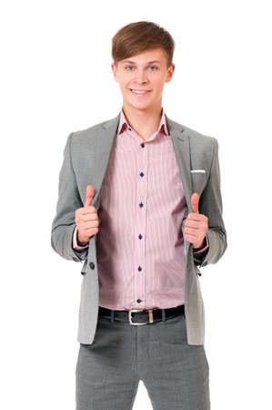 Portrait of young, happy winner businessman over white photo