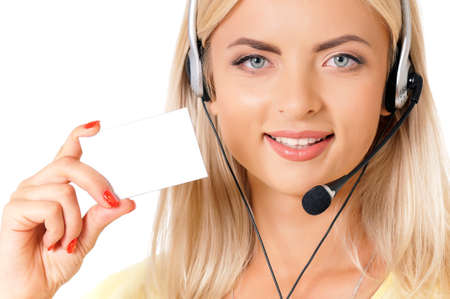 Customer service operator young woman from call center smiling with headset showing blank empty sign card for copy space, isolated on white background photo