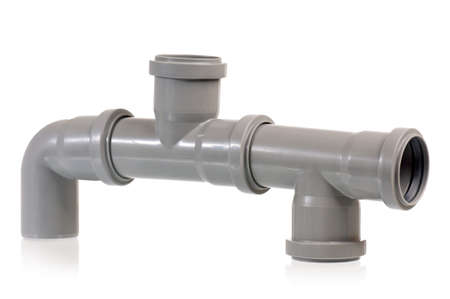 New grey drain pipe, isolated on white background Stock Photo