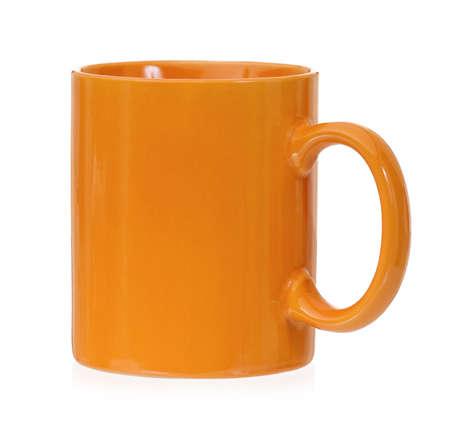 mugged: Orange mug empty blank for coffee or tea, isolated on white background
