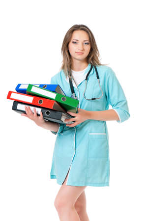 Female doctor holding a folders, isolated on white background  photo