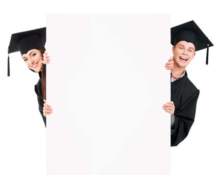 graduated: Graduate students in mantle showing blank placard board, isolated on white background