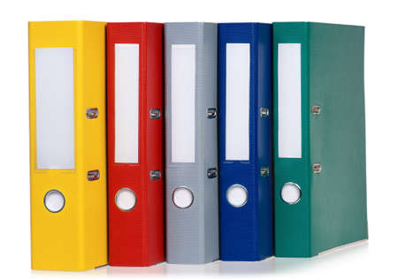 Colorful file folders, isolated on white background photo