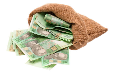 hryvna: Full money bag with ukrainian hryvna, isolated on white background Stock Photo