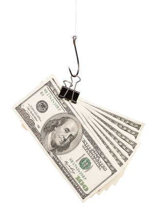 Fish hook with dollars isolated on white background photo