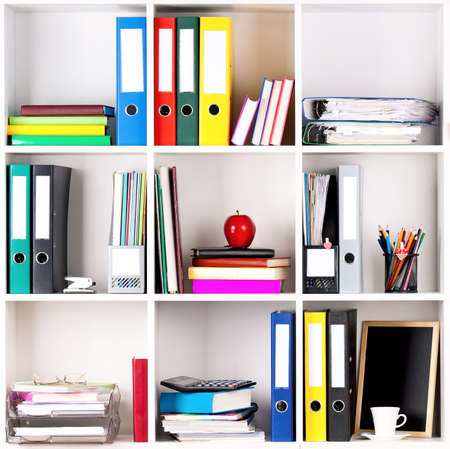 data storage: File folders, standing on the shelves at office