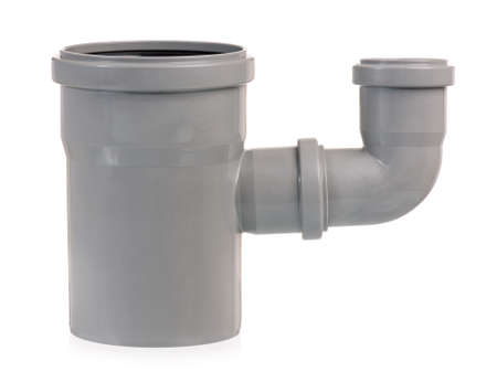 sewer pipe: Plastic sewer pipe, isolated on a white background