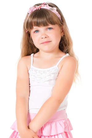 Portrait of a sad little girl, isolated on white background photo