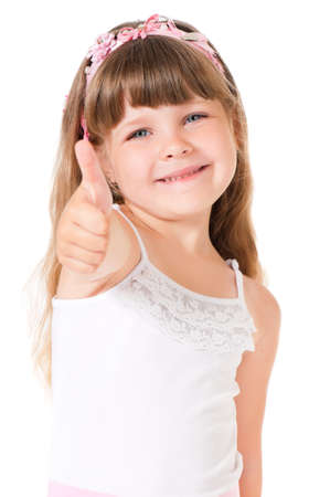 contentedness: Portrait of cute little girl showing thumb up, isolated on white background