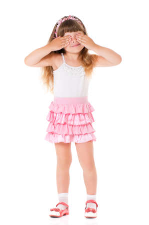 See no evil - portrait of girl isolated on white background photo