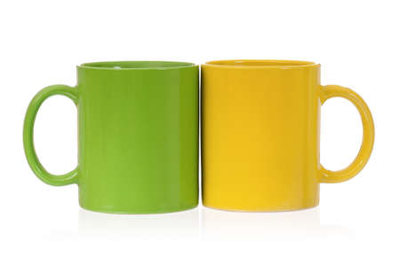 mugged: Two perfect cups, isolated on white background