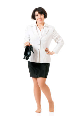 Business woman or teacher in suit, isolated white background