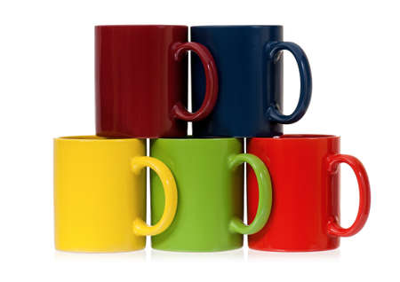 mugged: Set of colorful cups for coffee or tea, isolated on white background