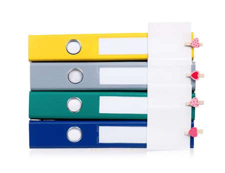 Colorful file folders, isolated on white background  photo