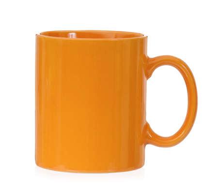 mugged: Orange mug for coffee or tea, isolated on white background Stock Photo