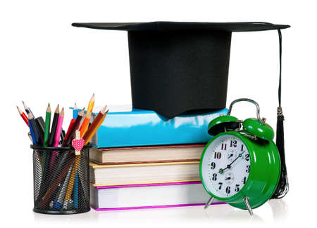 graduation countdown: Back to school concept - school accessories. Isolated on white background.