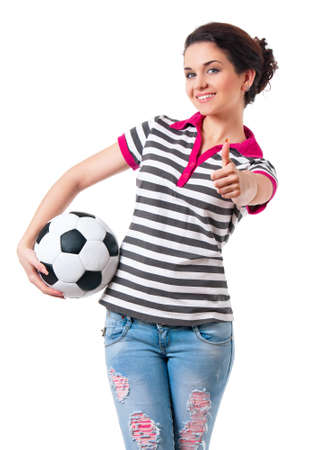 beautiful teen: Beautiful girl with classic soccer ball, isolated on white background
