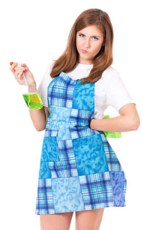 Young housewife with cleaning cloth and spray bottle, isolated on white background photo