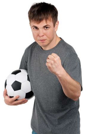 half ball: Man with classic soccer ball