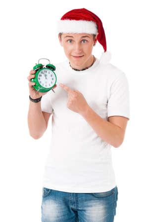 Man in Santa hat photo