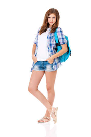18 20 years: Girl with backpack Stock Photo