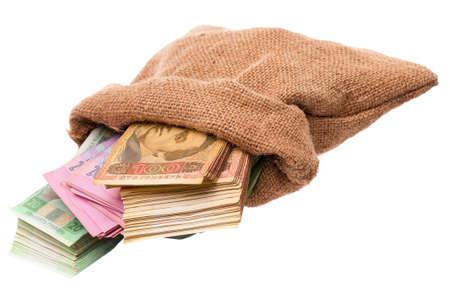 hryvna: Money bag with hryvna