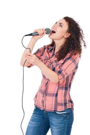 Girl with microphone photo