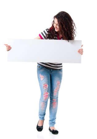 Girl with blank placard board photo