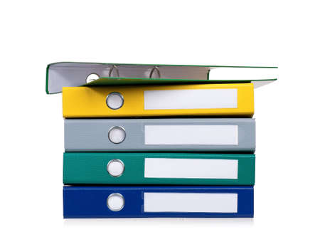Bright office folders isolated on white background photo